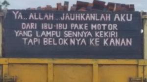 tulisan lucu dan unik di bak truk