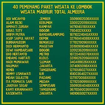 pemenang wisata mabrur ke lombok total almeera